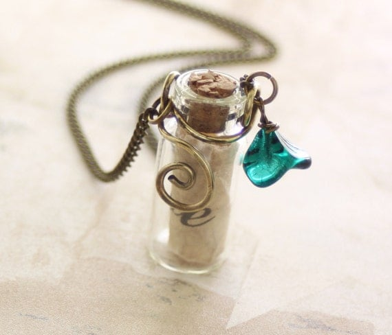 Message in a bottle brass necklace - Letter with customized inspirational words in vial with chain and teal bell flower dangle