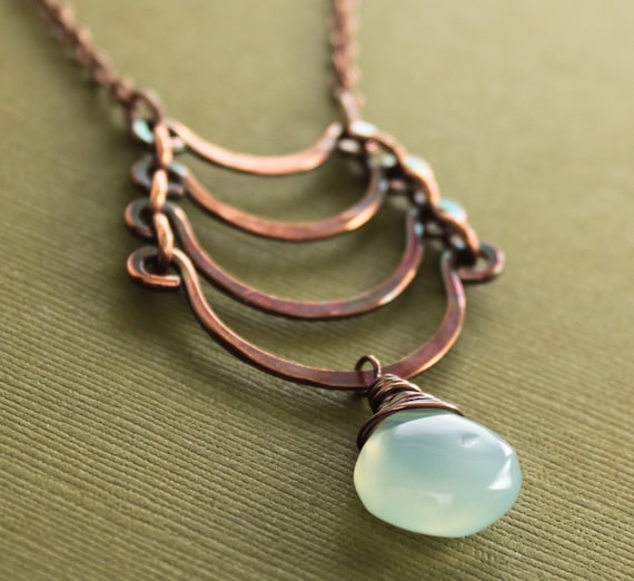 Egyptian copper necklace with cascade and light seafoam chalcedony briolette dangle