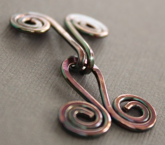 Handmade spiral copper cardigan clasp or sweater clasp for knit and fabric