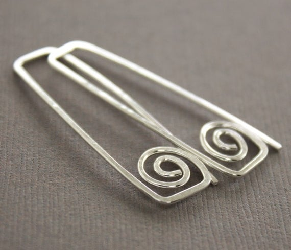 Rectangular hook sterling silver earrings with swirls - Greek style earrings