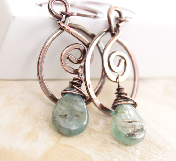 Swirly hoop gray with blue copper earrings with kyanite briolette stones