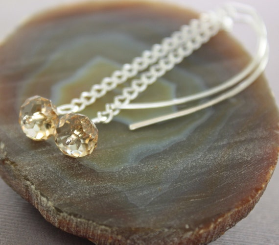 Sterling silver dangle earrings with champagne sparkly Swarovski crystals on chain and long hookone wrapped stones