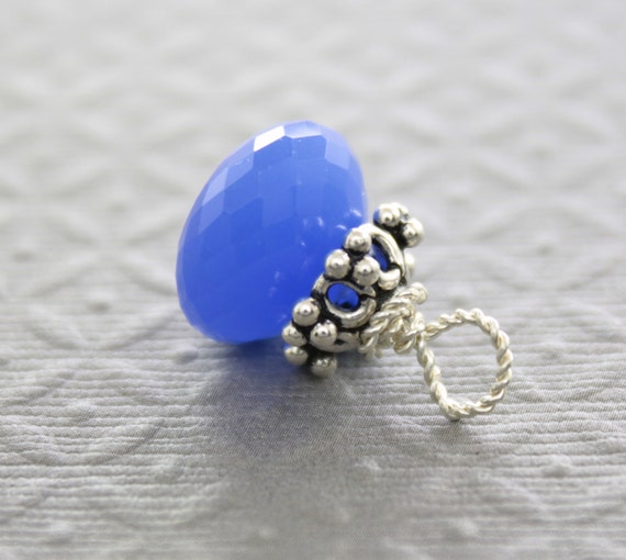 Half Price - Stone pendant - cobalt blue chalcedony onion shape drop stone with Bali cap and sterling silver