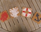 4th of July holiday/ hostess gift/BBQ/ picnic/party/cork/coastal coasters- Set of 4