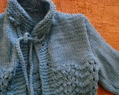 Adorable Blue Hand Knit Sweater Jacket with Details