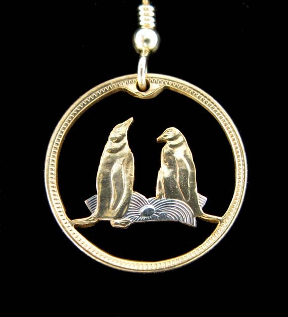 Cut Coin Jewelry - Falkland Islands - Penguins - Pair of Earrings