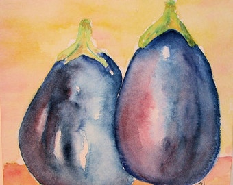 Aubergines Watorcolor Original Painting