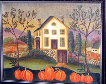 Pumpkin Harvest, Primititive Style Painting On Canvas
