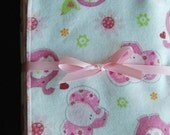 Large Flannel Receiving Blanket - Pink Elephants
