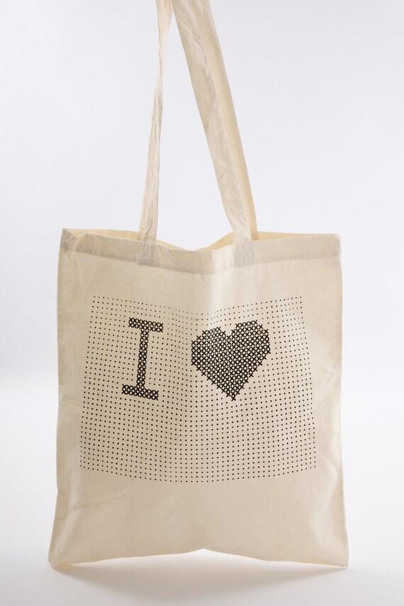 Cross Stitch kit  -'I heart ...' stitch Tote bag