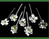 7 white wedding bridal flower hair accessories hair pins with green Swarovski crystals Rhinestone hair pins bridesmaid flower girl
