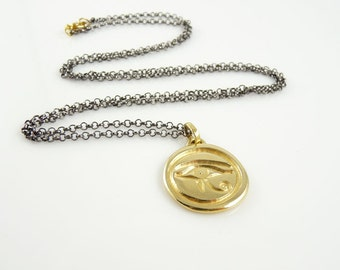 Gold Evil Eye Necklace, evil eye pendant, celebrity jewelry, talisman, amulet, gold medallion, designer jewelry