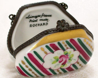 Limoges Purse Trinket Box Porcelain Roses France Vintage Ring Box