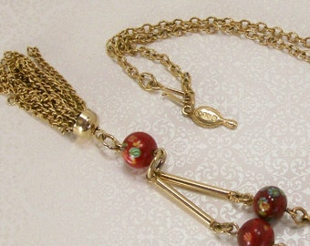 Sarah Coventry Necklace Red Glass Bead Tassel Lariat 1979 Vintage