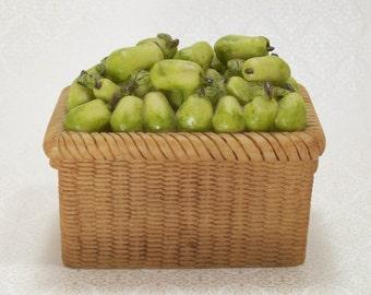 Basket Pears Trinket  Box Figural Fruit Ring Keepsake Vintage Jewelry