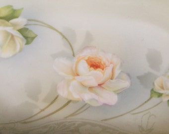 Handpainted Roses Plate RS Prussia Porcelain Germany Cream Vintage Antique