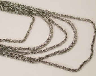 Silver Multi Strand Necklace Statement Chain Vintage Costume Jewelry