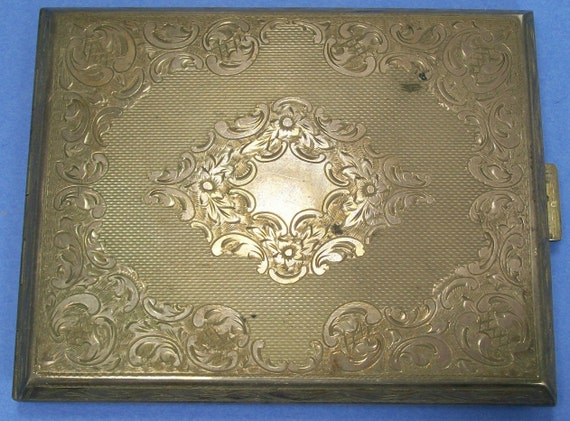 Beautiful Vintage Silver Plate Cigarette Case Holder Roll Your Own