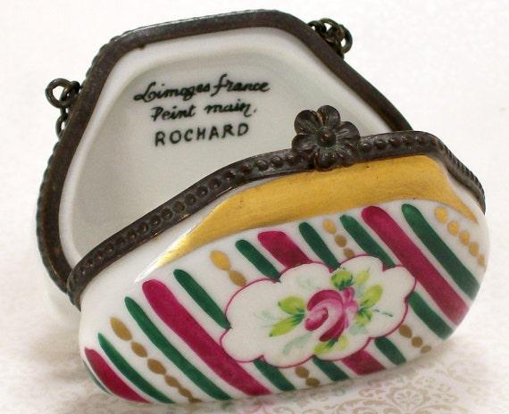 Limoges Purse Trinket Box Porcelain Roses France Vintage Ring Box