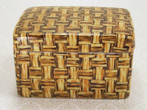 Vintage Woven Wicker Basket Porcelain Trinket Jewelry Vanity Box