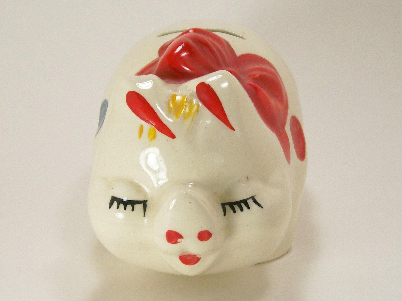 vintage piggy bank porcelain ceramic colorful polka dots red