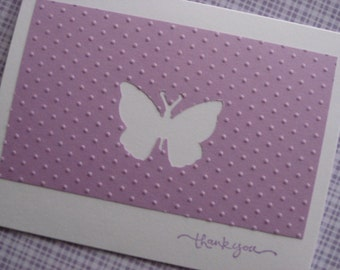 Pink or Purple Butterfly embossed Thank You Note