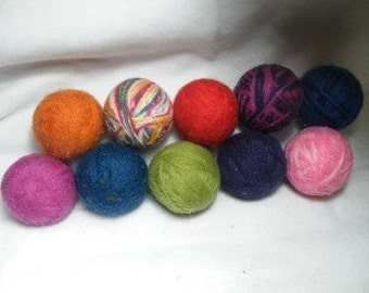 Set of 10 LARGE 100% Wool dryer balls You choose colors