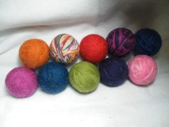 Set of 10 LARGE 100% Wool dryer balls You choose colors