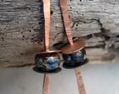 Reserved for Karen Dyed Bone Copper Stick Earrings