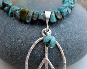 Sterling Silver and Turquoise Peace Necklace