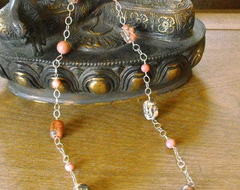 Multi-tonal Agate and Rhodochrosite Necklace-Sterling Silver Chain
