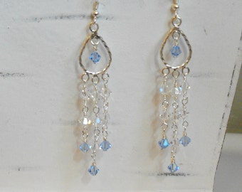 Blue Jean Swarovski Crystal Chandelier Earrings