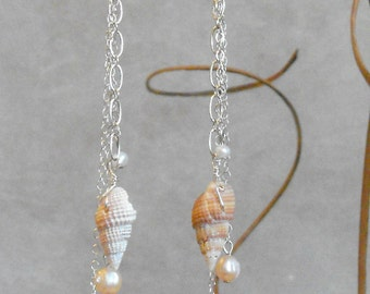 Shell and Pearl Dangle Earrings-Sterling Silver Chain