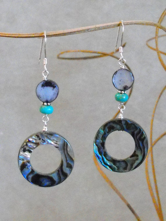 Abalone and Turquoise Earrings