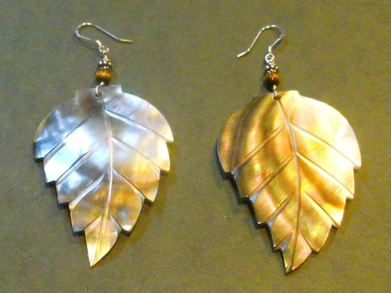 Abalone Carved Leaf Pendant Earrings-Fall Fashion-Tigers Eye-Sterling Silver