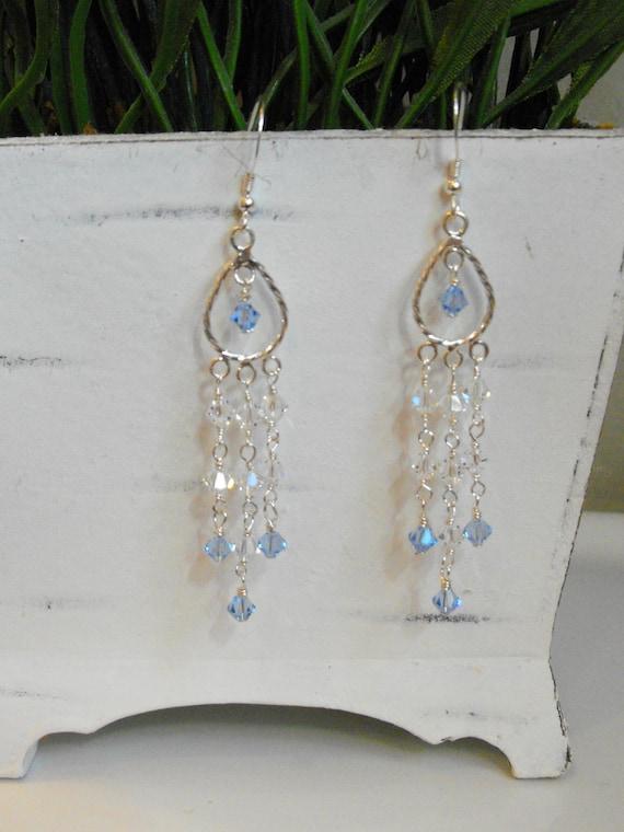 Blue Jean Swarovski Crystal Chandelier Earrings