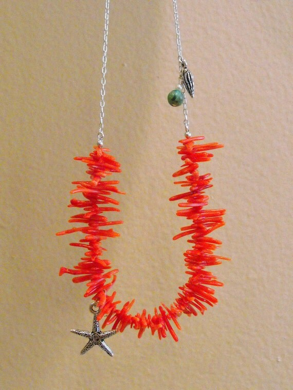 Genuine Coral Bib Necklace with Sterling Silver Chain-Charms-Turquoise
