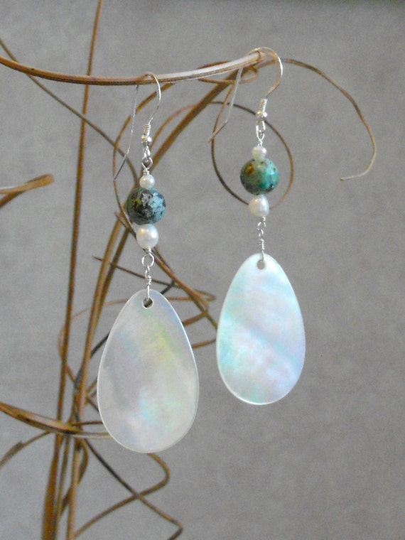 Mother of Pearl and Turquoise Dangle Earrings