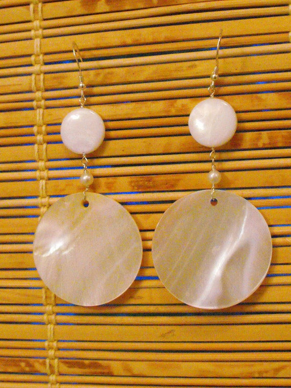 Large Round Mother of Pearl Disc Earrings-Summer-boho-white-clean-long