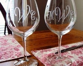 Monogrammed Etched Wine Glasses