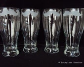 Etched Mustache Pilsner Set for Groom, Usher, Groomsman Gifts and Wedding Favors Worldwide by Jackglass on Etsy