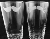 As seen in REAL SIMPLE - Pair of Etched Mustache Hiball Tumblers - Your choice of Mustaches by Jackglass on Etsy