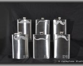 Set of 6 Etched Mustache Flasks with Funnel by Jackglass on Etsy