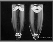 As seen in Wedding Style Magazine  His and Hers Mustache and Lips Champagne Flutes by Jackglass on Etsy