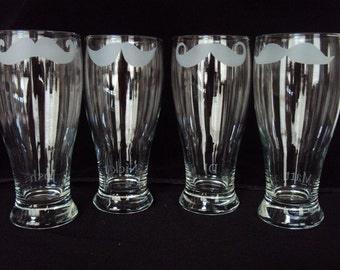 Etched Mustache Pilsner Set by Jackglass on Etsy