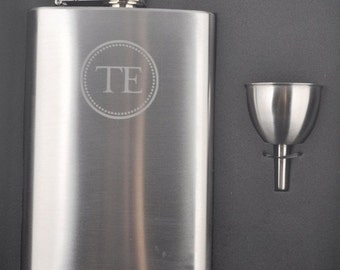 Custom Etched Seal Monogram Flask with Funnel by Jackglass on Etsy