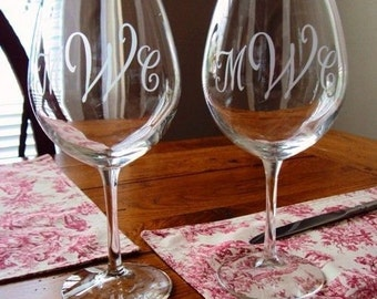 Monogrammed Etched Glass Wine Glasses, Bridesmaid, Maid of Honor, MOB, Wedding Toast by Jackglass on Etsy