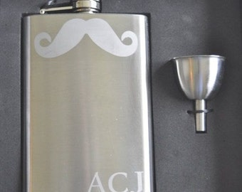 Mustache Flask, Stainless Steel with Funnel, Etched with Mustache For Best Man, Groomsman, Groom, Fiance, Photo Prop by Jackglass on Etsy