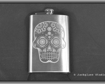 Etched Sugar Skull Flask with Funnel by Jackglass on Etsy