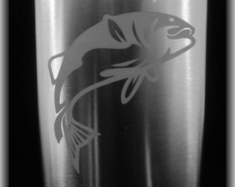 Etched Fishing Flask -  Personalized  8oz Stainless Flask with Funnel by Jackglass on Etsy